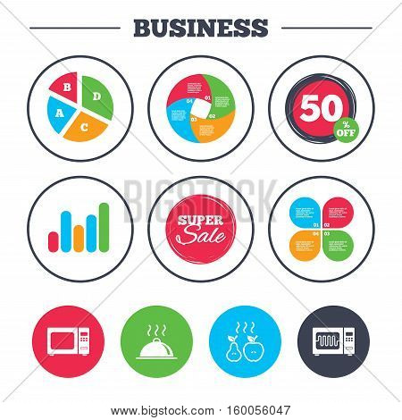 Business pie chart. Growth graph. Microwave grill oven icons. Cooking apple and pear signs. Food platter serving symbol. Super sale and discount buttons. Vector
