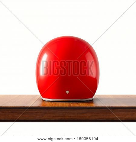 Back side view of red color vintage style motorcycle helmet on natural wooden desk.Concept classic object isolated white background.Square.3d rendering
