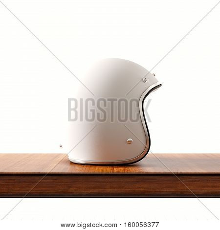 Side view of white color vintage style motorcycle helmet on natural wooden desk.Concept classic object at empty background.Square.3d rendering