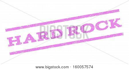 Hard Rock watermark stamp. Text caption between parallel lines with grunge design style. Rubber seal stamp with unclean texture. Vector violet color ink imprint on a white background.