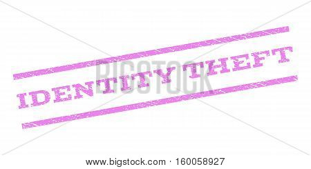 Identity Theft watermark stamp. Text tag between parallel lines with grunge design style. Rubber seal stamp with unclean texture. Vector violet color ink imprint on a white background.