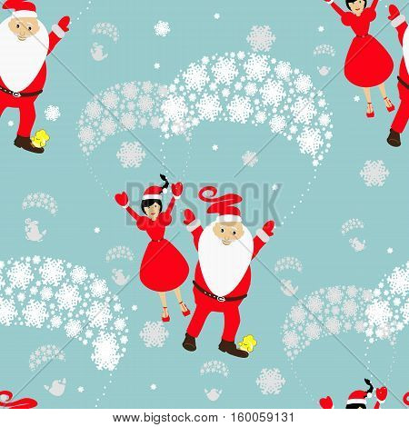seamless pattern. EPS 10 vector illustration. used for printing websites design  interior fabrics etc. Christmas theme. Santa Claus on a parachute flying across the sky with Mrs. Santa and a cockerel on his leg.