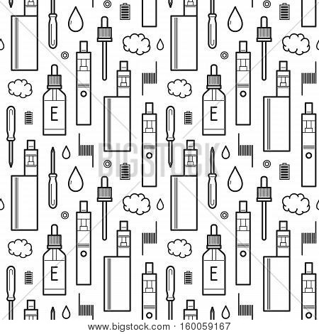 Vector seamless pattern for vape shop and vape service e-cigarette store black print isolated on white background. Wrapping paper pattern