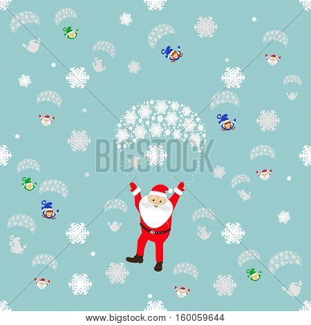 seamless pattern. EPS 10 vector illustration. used for printing websites design interior fabrics etc. Christmas theme. Santa Claus on a parachute flying through the sky with the elves.