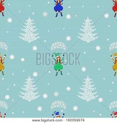 seamless pattern. EPS 10 vector illustration. used for printing websites design interior fabrics etc. Christmas theme. Girl Santa Claus flies on a parachute and a Christmas tree of snowflakes