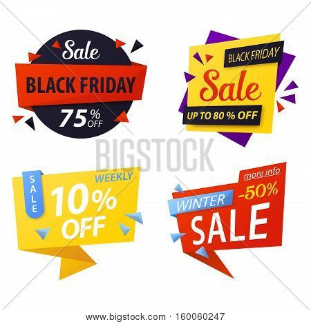 Black friday price discount tags for sale. Special offer price tag icons or promo coupon, sticker for best offer. For shop or store price tag, black friday advertising, weekly market vector label