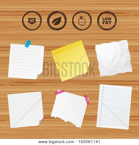 Business paper banners with notes. Low fat arrow icons. Diets and vegetarian food signs. Apple with leaf symbol. Sticky colorful tape. Vector