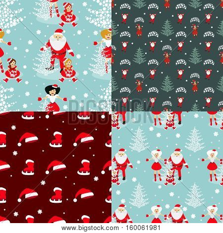 set seamless pattern. EPS 10 vector illustration. used for printing websites design  interior fabrics etc. Christmas theme. A set of four patterns