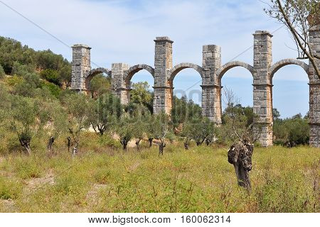 The Roman aqueduct at Moria, Lesvos, Greece. Built to carry water to the island's capital, Mytilene.