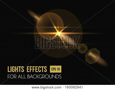 Zenith sun shine through lens light effect. Bright sun beam illuminated light backdrop or solar illumination background. Good for sunrise or sunshine light effect, abstract background or lens flash