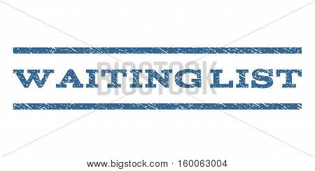 Waiting List watermark stamp. Text tag between horizontal parallel lines with grunge design style. Rubber seal cobalt blue stamp with unclean texture. Vector ink imprint on a white background.