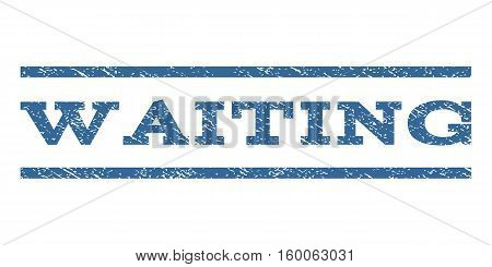 Waiting watermark stamp. Text caption between horizontal parallel lines with grunge design style. Rubber seal cobalt blue stamp with unclean texture. Vector ink imprint on a white background.