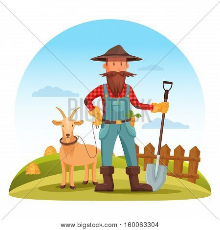Farmer man in boots, gloves and hat with spade or shovel and goat on field with hay and fence. Smiling cartoon farmer worker at cultivation field. For village or countryside man, agriculture farmer