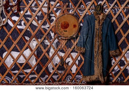The interior of a nomadic yurt color horizontal photo