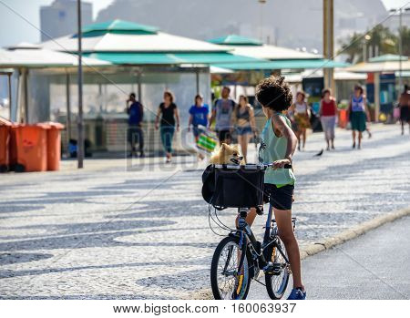 27 November 2016. Boy with curly hair with his head turned back standing with bicycle and with dog in a basket on the bike path of Copacabana beach with the background of blurry walking people, Rio de Janeiro, Brazil