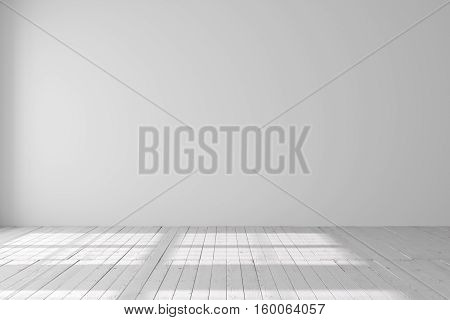 Light empty space with parquet floors. Mockup template for display or montage of product. Studio or office blank space. 3D rendering