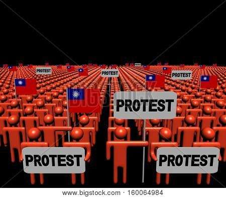 Crowd of people with protest signs and Taiwanese flags 3d illustration