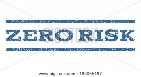 Zero Risk watermark stamp. Text tag between horizontal parallel lines with grunge design style. Rubber seal cobalt blue stamp with scratched texture. Vector ink imprint on a white background.