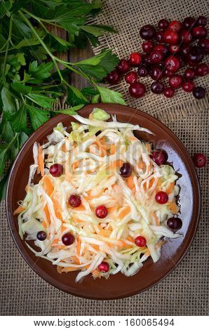 Cabbage salad with cranberries and fresh cranberries top view