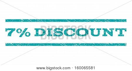 7 Percent Discount watermark stamp. Text tag between horizontal parallel lines with grunge design style. Rubber seal cyan stamp with dust texture. Vector ink imprint on a white background.