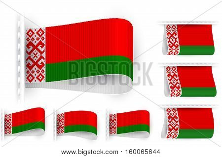 National state flag of Republic of Belarus; Sewn clothing label tag; Vector icon set Byelorussia flags Eps10