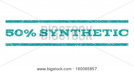 50 Percent Synthetic watermark stamp. Text tag between horizontal parallel lines with grunge design style. Rubber seal cyan stamp with dust texture. Vector ink imprint on a white background.
