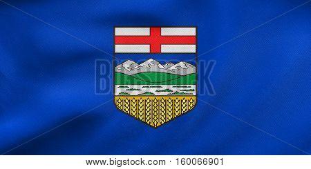 Flag Of Alberta Waving, Real Fabric Texture