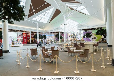 Moscow, Russia - October 26.2016. Food court at the Zelenopark mall