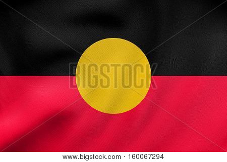 Australian Aboriginal Flag Waving, Fabric Texture