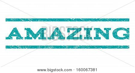 Amazing watermark stamp. Text tag between horizontal parallel lines with grunge design style. Rubber seal cyan stamp with dirty texture. Vector ink imprint on a white background.