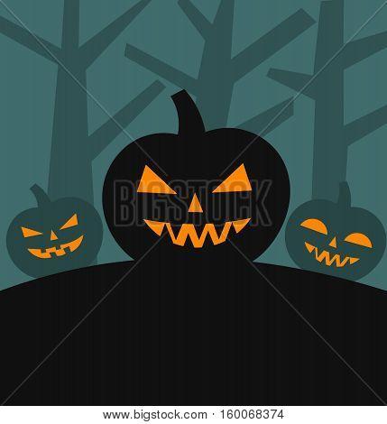 Halloween pumpkins Jack o lanterns background illustration