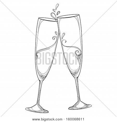 Vector illustration with two contour champagne glasses or flute in black isolated on white background. Outline glass for wine and winery in linear style for holiday design and coloring book.