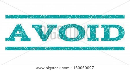 Avoid watermark stamp. Text tag between horizontal parallel lines with grunge design style. Rubber seal cyan stamp with dirty texture. Vector ink imprint on a white background.