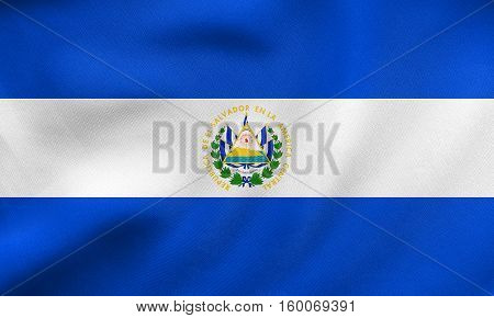 Flag Of El Salvador Waving, Real Fabric Texture