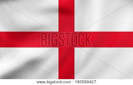 Flag Of England Waving, Real Fabric Texture