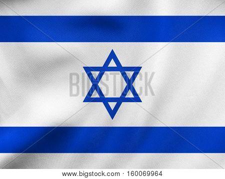 Flag Of Israel Waving, Real Fabric Texture