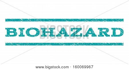 Biohazard watermark stamp. Text caption between horizontal parallel lines with grunge design style. Rubber seal cyan stamp with scratched texture. Vector ink imprint on a white background.