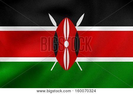 Flag Of Kenya Waving, Real Fabric Texture