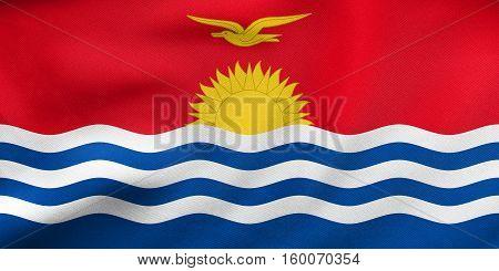 Flag Of Kiribati Waving, Real Fabric Texture