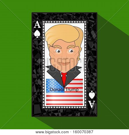Icon a vector illustration an ace the playing card a victory to win Donald Trump the combination. American flag. on a green background.