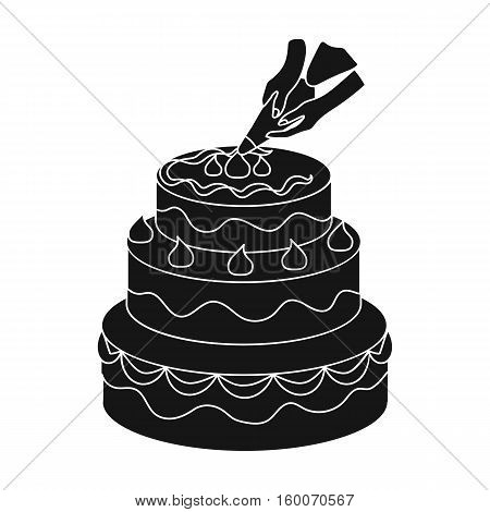 Decorating of birthday cake icon in black style isolated on white background. Event service symbol vector illustration.