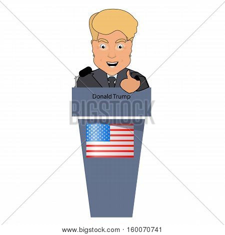 donald trump president smile victory finger up elections of 2016. Presidential chair. Fight success. An interview behind a tribune. Debate. Vector illustration. On white easily separated background