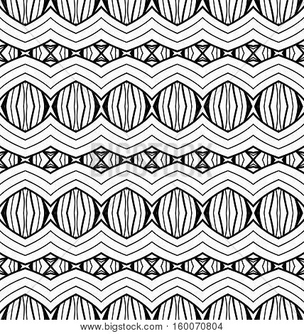 Black White Seamless Wallpaper. Vintage Monochrome Pattern. Retro Background