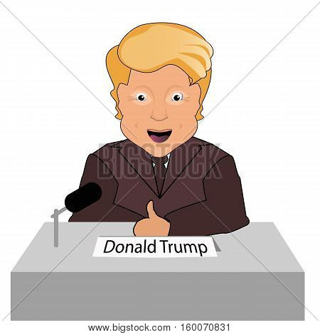 donald trump president smile finger up elections of 2016. Presidential chair. Fight success. Gives an interview. Vector illustration. On white easily separated background