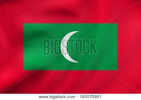 Flag Of Maldives Waving, Real Fabric Texture
