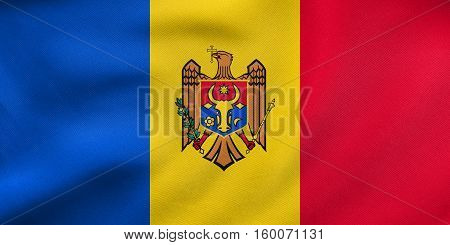 Flag Of Moldova Waving, Real Fabric Texture
