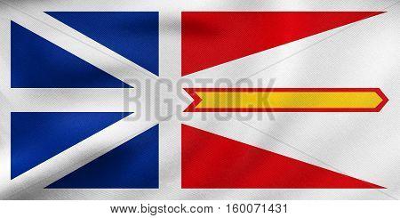 Newfoundland And Labrador Flag Wavy Fabric Texture