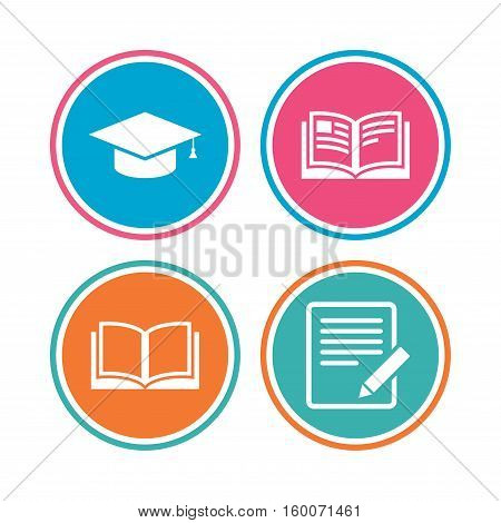 Pencil with document and open book icons. Graduation cap symbol. Higher education learn signs. Colored circle buttons. Vector