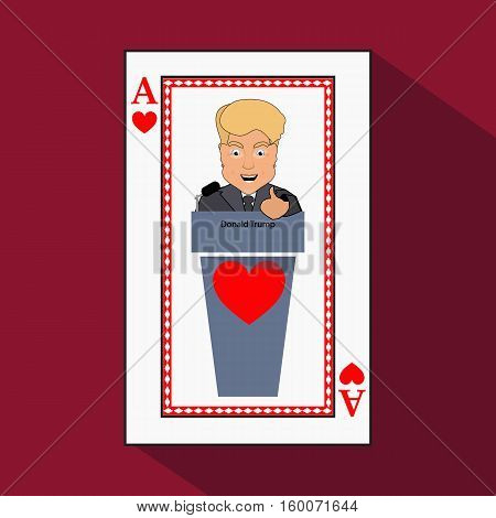 To give to Donald Trump an interview a tribune to speak in the microphone propaganda a hand up. Card ace heart. vector illustration eps 10. On light it is easy to separate a background.