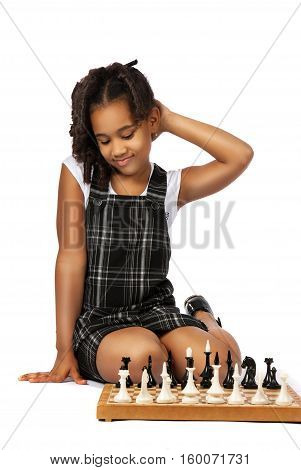 clever girl playing chess thinking isolation on white